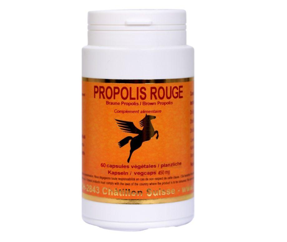 la Ppopolis rouge à des propriétés antibiotiques antivirales ,antifongiques et antibactériennes.